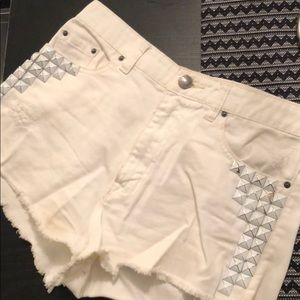 Urban Outfitters Studded White Shorts